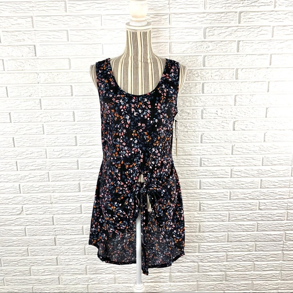Liberty Love Tops - Liberty Love Floral High Low Tie Front Tank Top